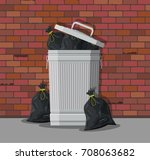 huge waste trash can on street. ... | Shutterstock .eps vector #708063682