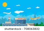 aircraft above the ground.... | Shutterstock .eps vector #708063832