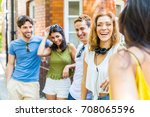 group of friends talking and... | Shutterstock . vector #708065596