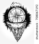 compass and mountains tattoo... | Shutterstock .eps vector #708067192