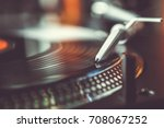 party dj turntables records... | Shutterstock . vector #708067252