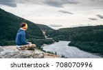 a girl is watching the nenana... | Shutterstock . vector #708070996