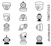 security camera icon.vector set | Shutterstock .eps vector #708071515