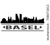 basel skyline silhouette city...   Shutterstock .eps vector #708071812