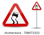 sign warning slippery road. in... | Shutterstock . vector #708072322
