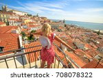 lisbon aerial view of popular... | Shutterstock . vector #708078322