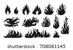 set of hand drawn flames. vector | Shutterstock .eps vector #708081145