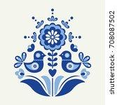 birds card in scandinavian... | Shutterstock .eps vector #708087502