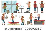 male tourist various gestures... | Shutterstock .eps vector #708093352