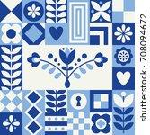 cute pattern in danish folklore ... | Shutterstock .eps vector #708094672