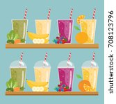 cartoon smoothies. orange ... | Shutterstock .eps vector #708123796