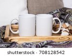 two white mugs  pair of cups on ... | Shutterstock . vector #708128542