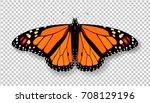 realistic 3d monarch butterfly. ... | Shutterstock .eps vector #708129196
