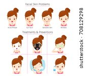 girl with problems on face and... | Shutterstock .eps vector #708129298
