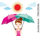 girl holding two umbrellas with ... | Shutterstock .eps vector #708130186