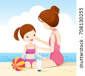 mother wearing sunscreen on... | Shutterstock .eps vector #708130255
