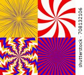 set of psychedelic spiral with... | Shutterstock .eps vector #708132106