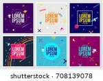 memphis hipster style cards... | Shutterstock .eps vector #708139078