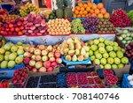 fruit market with various...   Shutterstock . vector #708140746