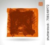 orange brush stroke and texture.... | Shutterstock .eps vector #708148972