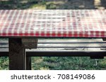 wet lunch picnic table ... | Shutterstock . vector #708149086