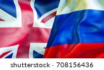 uk and russia flags. 3d waving... | Shutterstock . vector #708156436
