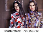 two beautiful sexy woman... | Shutterstock . vector #708158242
