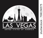 las vegas skyline silhouette... | Shutterstock .eps vector #708158575