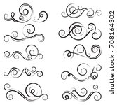 calligraphic black and elegant... | Shutterstock .eps vector #708164302
