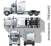 vector hi detailed semi truck   Shutterstock .eps vector #70816642
