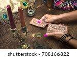 fortune teller female hands and ... | Shutterstock . vector #708166822