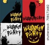 halloween party vector flan... | Shutterstock .eps vector #708171682