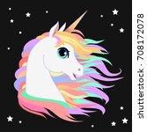 unicorn head portrait vector... | Shutterstock .eps vector #708172078