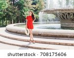 young stylish woman wearing red ...   Shutterstock . vector #708175606