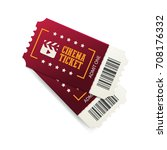 two cinema tickets with barcode ... | Shutterstock .eps vector #708176332