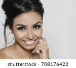 beautiful young woman with... | Shutterstock . vector #708176422