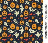 vector halloween seamless... | Shutterstock .eps vector #708180382