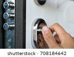 open door of a family home.... | Shutterstock . vector #708184642
