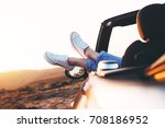 modern hipster girl resting in...   Shutterstock . vector #708186952