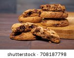 cookies with chocolate wood... | Shutterstock . vector #708187798