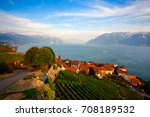 vineyards of the lavaux region... | Shutterstock . vector #708189532