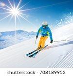 skier skiing downhill during... | Shutterstock . vector #708189952