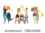 meeting of young girls scenes... | Shutterstock .eps vector #708193285