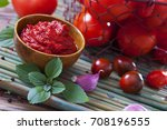 tomato sauce with garlic and... | Shutterstock . vector #708196555