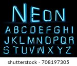 neon light alphabet 3d... | Shutterstock . vector #708197305