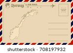 vintage postcard with map of... | Shutterstock .eps vector #708197932