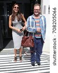 Small photo of LONDON - AUG 12, 2017: Melanie Sykes and Alan Carr seen at the BBC radio two studios in London