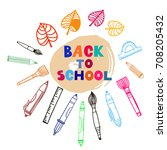 back to school   poster design. ... | Shutterstock .eps vector #708205432