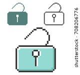 pixel icon of unlocked padlock... | Shutterstock .eps vector #708206776