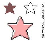 pixel icon of star in three... | Shutterstock .eps vector #708206812